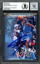 """Shaquille """"Shaq"""" O'Neal Autographed 1995-96 SP Holoviews Card #PC29 Orlando Magic Auto Grade Gem Mint 10 Beckett BAS #13315332"""