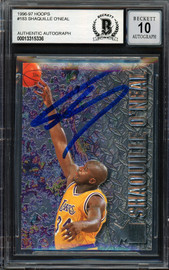 "Shaquille ""Shaq"" O'Neal Autographed 1996-97 Fleer Metal Card #183 Los Angeles Lakers Auto Grade Gem Mint 10 Beckett BAS #13315336"