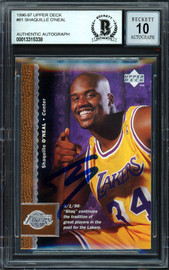 "Shaquille ""Shaq"" O'Neal Autographed 1996-97 Upper Deck Card #61 Los Angeles Lakers Auto Grade Gem Mint 10 Beckett BAS #13315338"