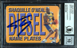 """Shaquille """"Shaq"""" O'Neal Autographed 1999-00 Hoops Name Plates Card #10 Los Angeles Lakers Auto Grade Gem Mint 10 Beckett BAS #13315339"""