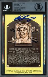 Ken Griffey Jr. Autographed HOF Plaque Postcard Seattle Mariners Auto Grade Gem Mint 10 Beckett BAS #13315713