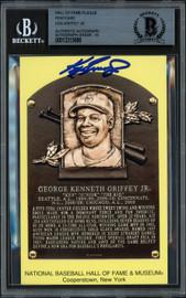 Ken Griffey Jr. Autographed HOF Plaque Postcard Seattle Mariners Auto Grade Gem Mint 10 Beckett BAS #13315688