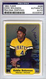 Eddie Solomon Autographed 1982 Fleer Card #498 Pittsburgh Pirates PSA/DNA #83308451