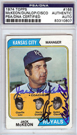 Jack McKeon, Harry Dunlop & Galen Cisco Autographed 1974 Topps Card #166 Kansas City Royals PSA/DNA #83310807