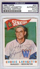 Cookie Lavagetto Autographed 1960 Topps Card #221 Washington Senators PSA/DNA #83312407