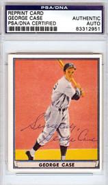 George Case Autographed Goudey Reprint Card Washington Senators PSA/DNA #83312951