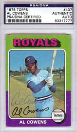 Al Cowens Autographed 1975 Topps Rookie Card #437 Kansas City Royals PSA/DNA #83317777