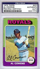 Al Cowens Autographed 1975 Topps Rookie Card #437 Kansas City Royals PSA/DNA #83317778