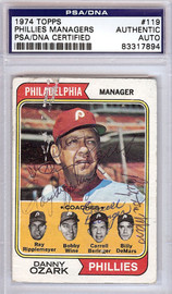 Carroll Beringer, Danny Ozark, Ray Rippelmeyer, Bobby Wine & Billy Demars Autographed 1974 Topps Card #119 Philadelphia Phillies PSA/DNA #83317894