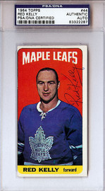 Red Kelly Autographed 1964 Topps Card Toronto Maple Leafs PSA/DNA #83322287