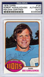 Robert Kowalkowski Autographed 1976 Topps Card #197 Detroit Lions PSA/DNA #83365686