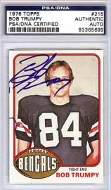 Bob Trumpy Autographed 1976 Topps Card #215 Cincinnati Bengals PSA/DNA #83365699