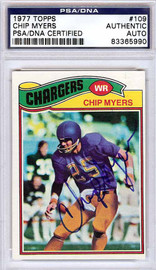 Chip Myers Autographed 1977 Topps Card #109 San Diego Chargers PSA/DNA #83365990