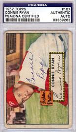 Connie Ryan Autographed 1952 Topps Card #107 Philadelphia Phillies PSA/DNA #83369263