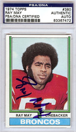 Ray May Autographed 1974 Topps Card #380 Denver Broncos PSA/DNA #83367472