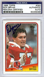 Rick Bryan Autographed 1988 Topps Card #392 Atlanta Falcons PSA/DNA #83369486