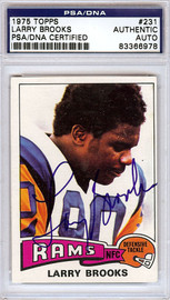Larry Brooks Autographed 1975 Topps Card #231 Los Angeles Rams PSA/DNA #83366978