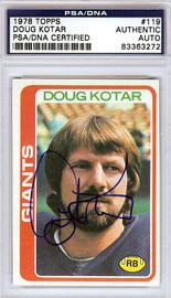 Doug Kotar Autographed 1978 Topps Card #119 New York Giants PSA/DNA #83363272