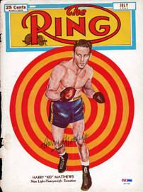 """Harry """"Kid"""" Matthews Autographed The Ring Magazine Cover PSA/DNA #S47180"""