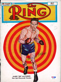 """Harry """"Kid"""" Matthews Autographed The Ring Magazine Cover PSA/DNA #S47200"""
