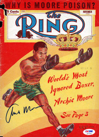 Archie Moore Autographed The Ring Magazine Cover PSA/DNA #S47254