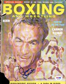 Carmen Basilio Autographed Boxing & Wrestling Magazine Cover PSA/DNA #S47310