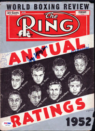 """Joey Maxim, Kid Gavilan & Jimmy Carter Autographed The Ring Magazine Cover """"To John"""" PSA/DNA #S47566"""
