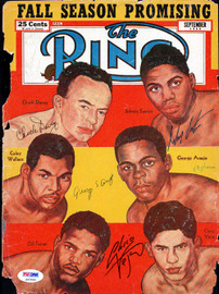Chuck Davey, Johnny Saxton, George Araujo & Chico Vejar Autographed The Ring Magazine Cover PSA/DNA #S47660