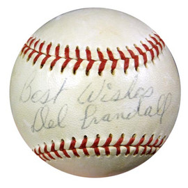 """Del Crandall Autographed NL Giles Baseball Braves, Giants """"Best Wishes & Milwaukee Braves 1963"""" PSA/DNA #S65546"""