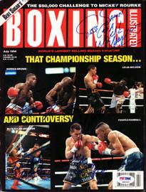 Julio Cesar Chavez, Jesse James Leija, Frankie Randall, Terry Norris & Julian Jackson Autographed Boxing Illustrated Magazine Cover PSA/DNA #S49320