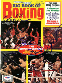 Joe Frazier, Leon Spinks & Roberto Duran Autographed Big Book Of Boxing Magazine Cover PSA/DNA #S48562