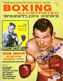 "Ingemar Johansson & Tom McNeeley Autographed Boxing Illustrated Magazine Cover ""To John"" PSA/DNA #S47543"