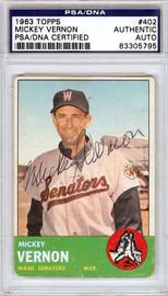 Mickey Vernon Autographed 1963 Topps Card #402 Washington Senators PSA/DNA #83305795