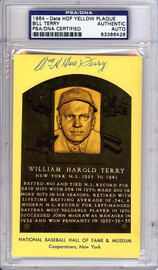 William Bill Terry Autographed HOF Plaque Postcard PSA/DNA #83386428