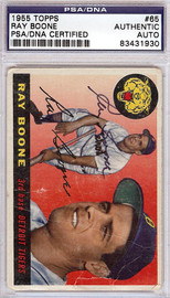 Ray Boone Autographed 1955 Topps Card #65 Detroit Tigers PSA/DNA #83431930