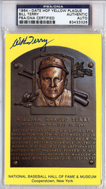 William Bill Terry Autographed HOF Plaque Postcard PSA/DNA #83433326