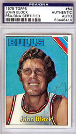 John Block Autographed 1975 Topps Card #64 Chicago Bulls PSA/DNA #83448410
