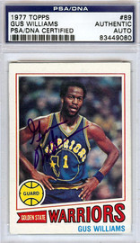 Gus Williams Autographed 1977 Topps Card #89 Golden State Warriors PSA/DNA #83449080