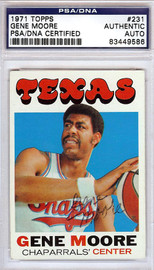 Gene Moore Autographed 1971 Topps Card #231 Texas Chaparrals PSA/DNA #83449586