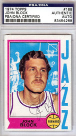 John Block Autographed 1974 Topps Card #168 New Orleans Jazz PSA/DNA #83454268