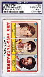 Chuck Williams Autographed 1973 Topps Card #239 San Diego Conquistadors PSA/DNA #83449934
