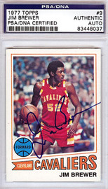 Jim Brewer Autographed 1977 Topps Card #9 Cleveland Cavaliers PSA/DNA #83448037