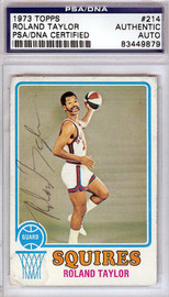 Roland Taylor Autographed 1973 Topps Card #214 Virginia Squires PSA/DNA #83449879