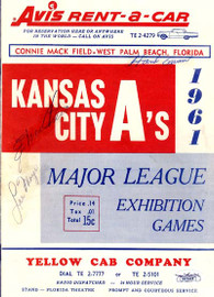 Hank Aaron, Eddie Mathews & Lee Maye Autographed 1961 Scorecard Kansas City A's JSA #B53481