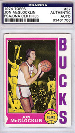 Jon McGlocklin Autographed 1974 Topps Card #37 Milwaukee Bucks PSA/DNA #83461706