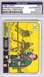 Parker MacDonald Autographed 1968 Topps Card #55 Minnesota North Stars PSA/DNA #83462357