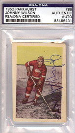 Johnny Wilson Autographed 1952 Parkhurst Rookie Card #89 Detroit Red Wings PSA/DNA #83466431