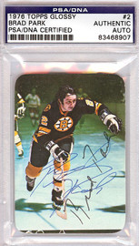 Brad Park Autographed 1976 Topps Glossy Card #2 Boston Bruins PSA/DNA #83468907
