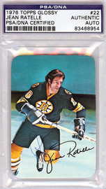 Jean Ratelle Autographed 1976 Topps Glossy Card #22 Boston Bruins PSA/DNA #83468954
