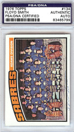 Floyd Smith Autographed 1976 Topps Card #134 Buffalo Sabres PSA/DNA #83465799